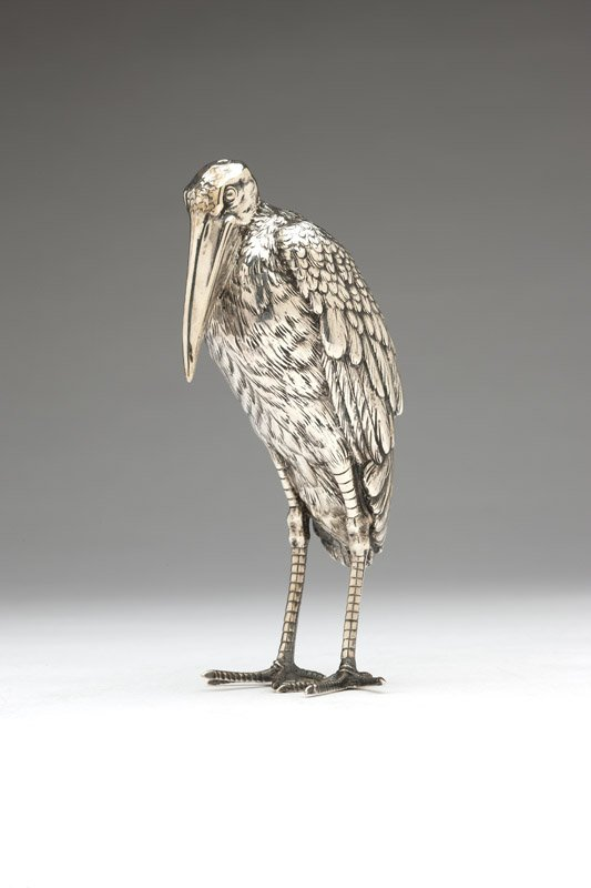 A German sterling silver stork table ornament