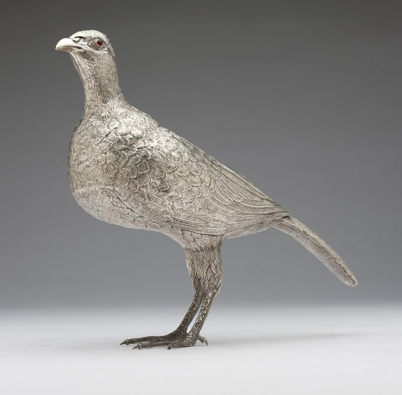 A Continental sterling silver figure of a bird