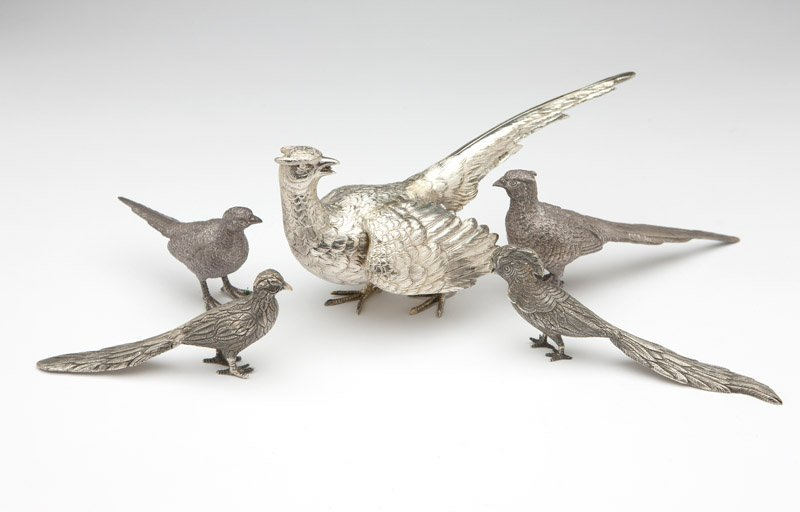 Five sterling silver bird table ornaments