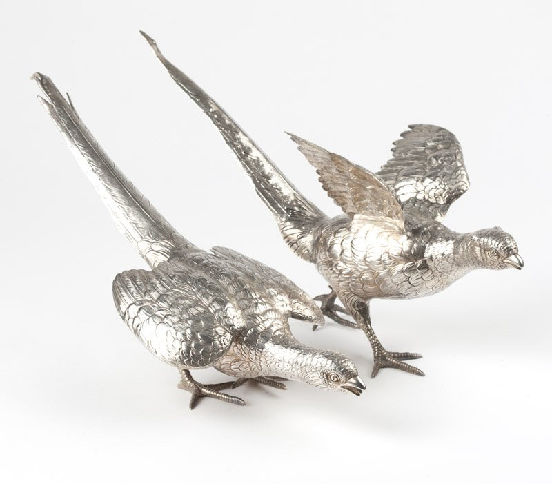 Two sterling silver pheasant table ornaments