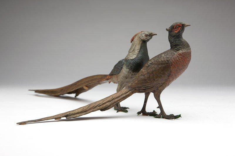Two Franz Bergman pheasant table ornaments