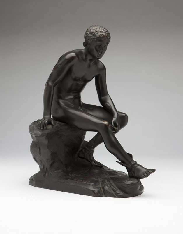 A patinated bronze figure of Hermes