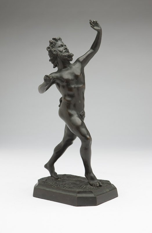 A Continental patinated bronze figure of a satyr