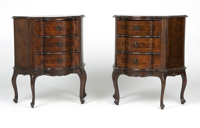A pair of Rococo style marquetry petite commodes