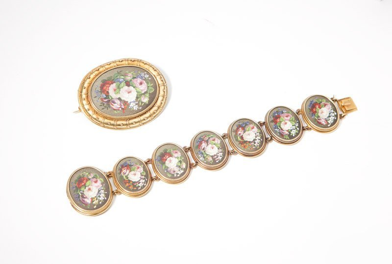 A floral micromosaic bracelet with matching brooch
