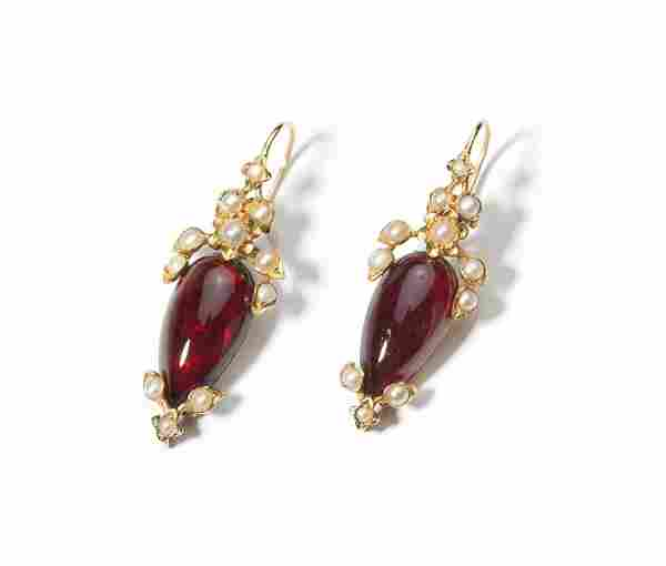 A pair of Victorian carbuncle and pearl earrings