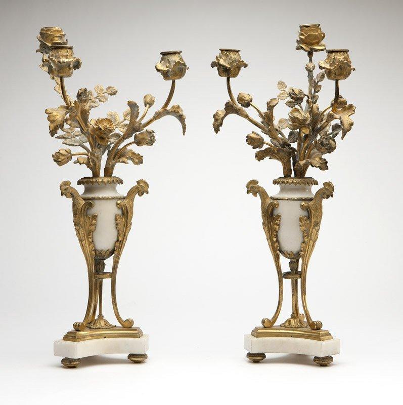 Pair gilt bronze & white marble candelabra