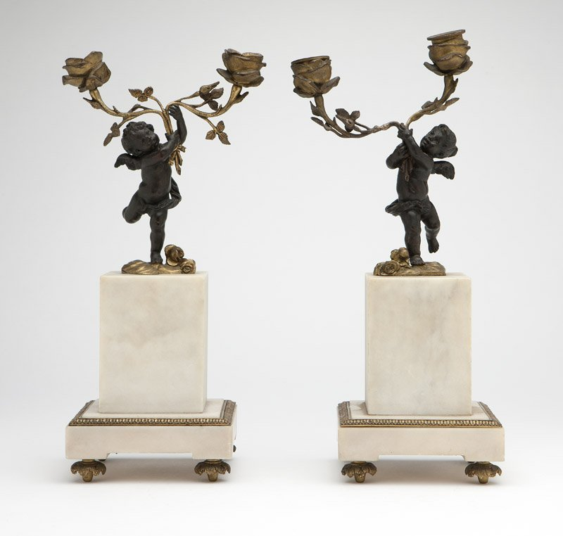 Pair French patinated & gilt bronze candelabra