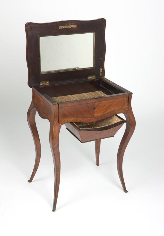 A gilt bronze-inlaid marquetry vanity table