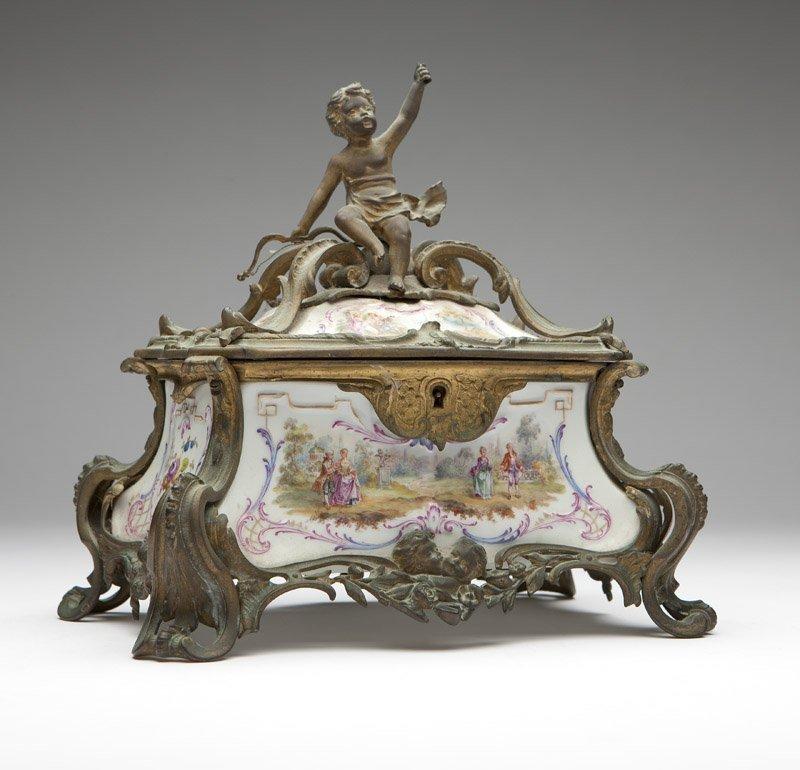 A gilt bronze-mounted porcelain jewelry box