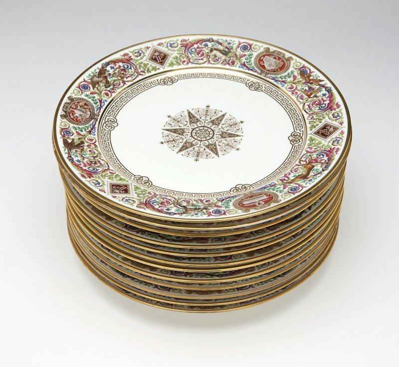 Twelve Sevres porcelain dinner plates