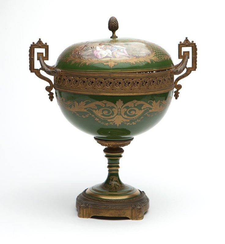 A Sevres style porcelain & gilt bronze compote