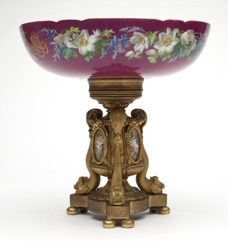 A gilt bronze & porcelain center bowl
