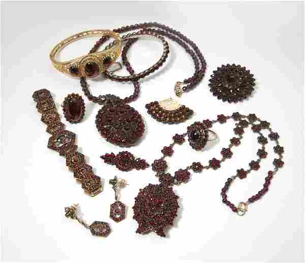 A collection of Victorian garnet jewelry