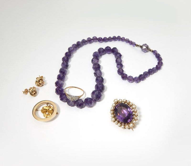 A group gold and gemstone jewelry