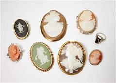 Eight cameo jewelry items