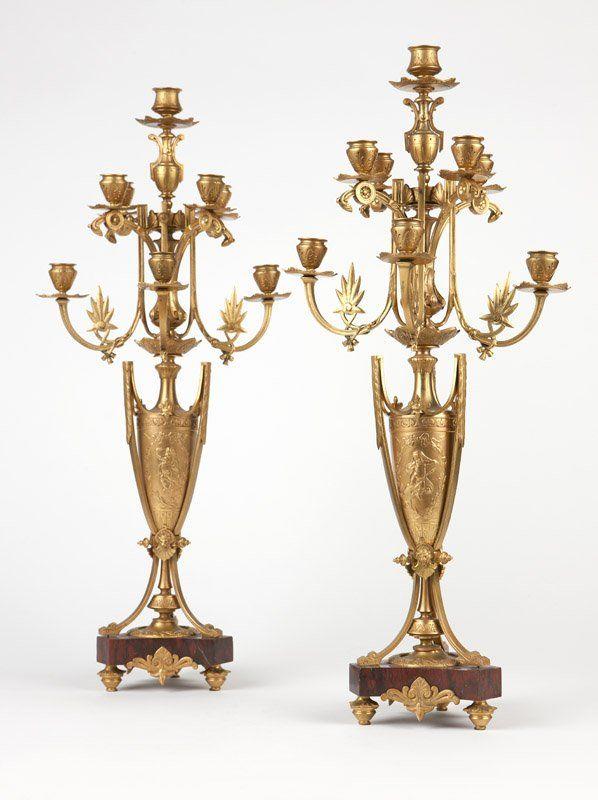 A pair of Neoclassical gilt bronze eight-light