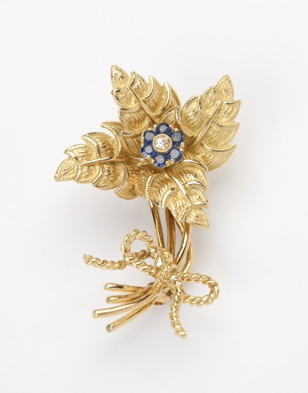 A sapphire and gold brooch, Tiffany & Co, Italy