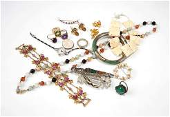 A group of costume silver gold and gem jewelry