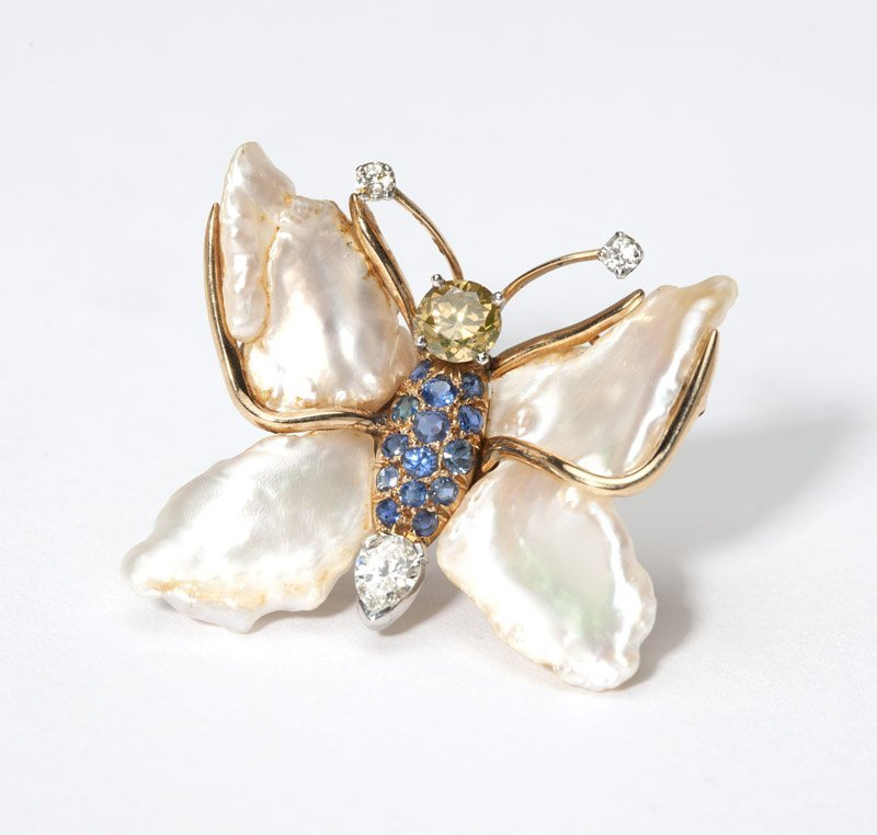 A pearl, gem and gold butterfly brooch, Ruser