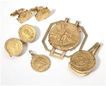 A group of gent's gold coin items
