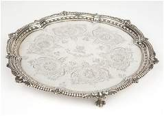 A Victorian sterling silver footed salver