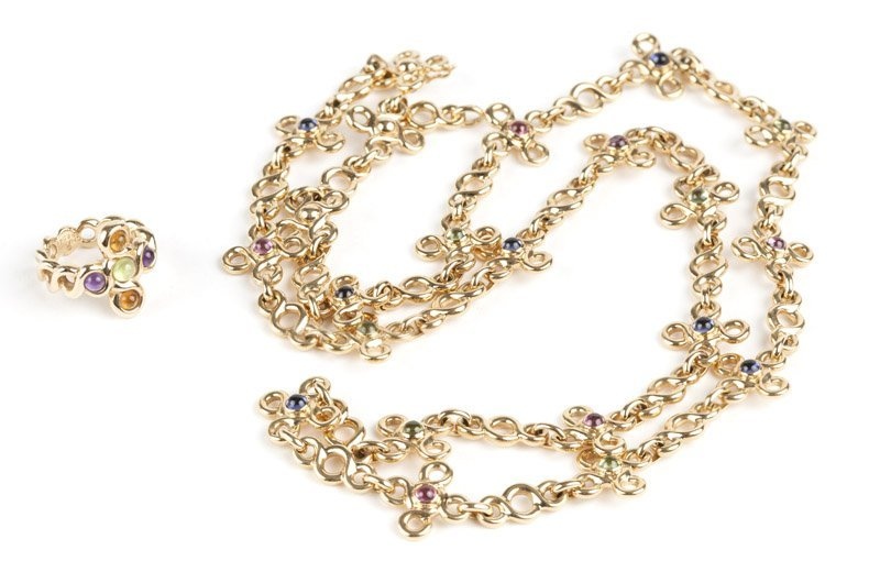A gold and gem chain necklace and ring, Chanel
