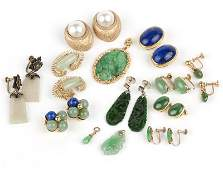 A group of hard stone, jade and gold earrings