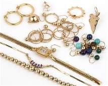 A collection of gold jewelry