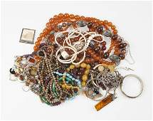 A large group of silver, stone & costume jewelry