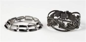 Two silver bracelets Margot de Taxco
