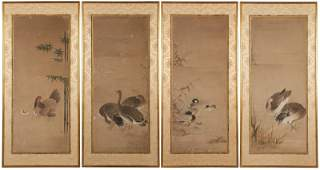 A group of four Chinese framed scroll panels