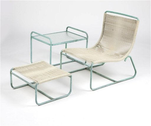 A Set Of Walter Lamb Verdigris Patio Furniture