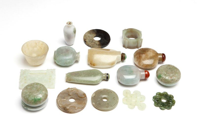 A group of Chinese carved jade articles