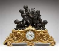 A Deniere and Cailleaux bronze mantle clock