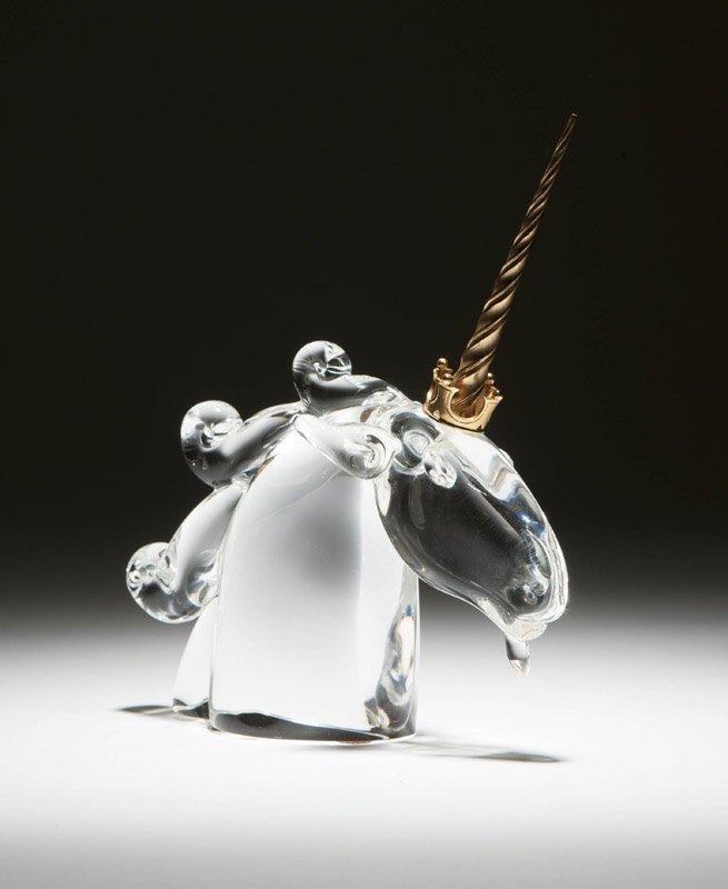 A Steuben art glass bust of a unicorn