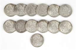 Group of 13 1902 O US Morgan Silver Dollars