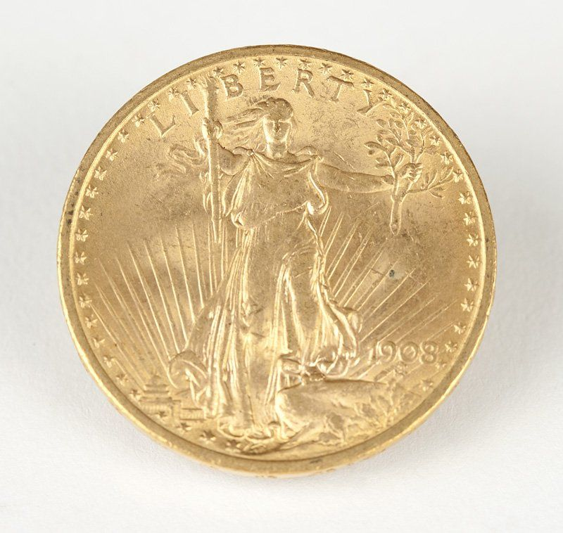 A 1908 $20 US St. Gaudens Gold Coin