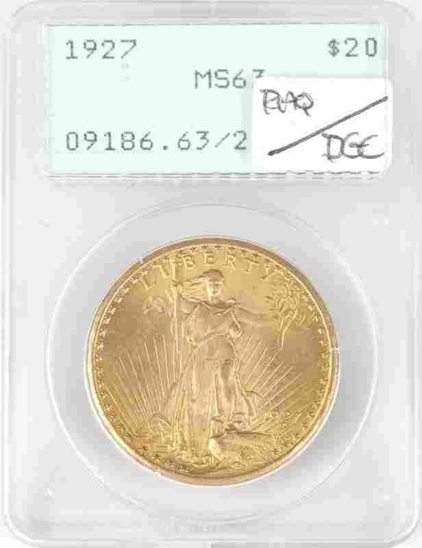 A 1927 $20 US St. Gaudens Gold Coin