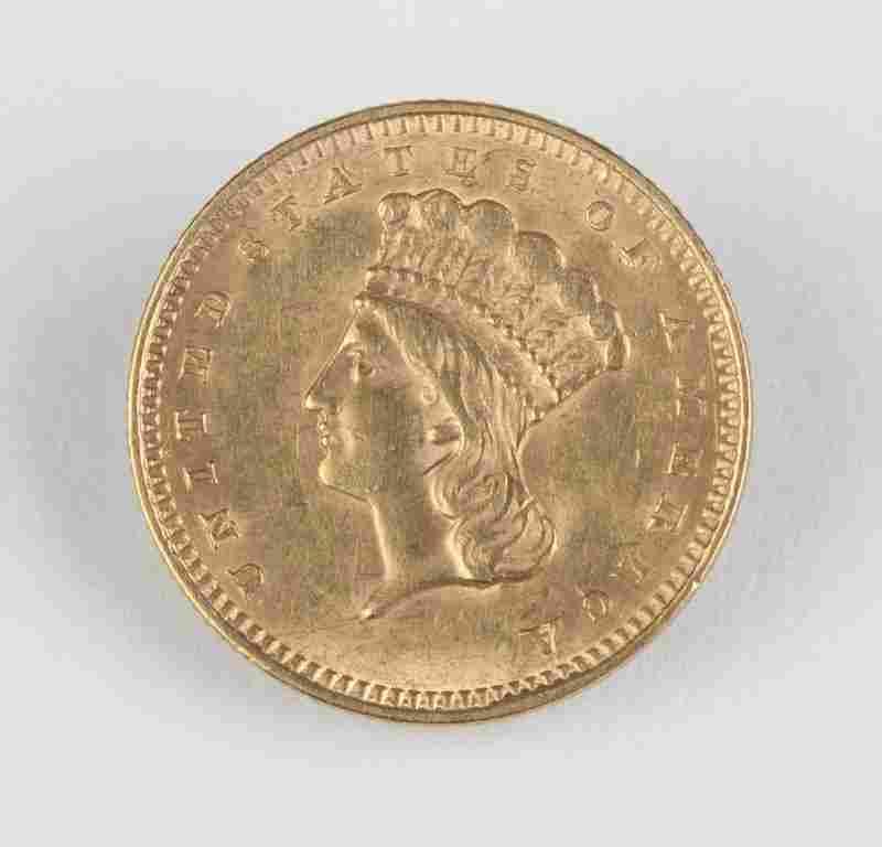An 1857 $1 US Gold Coin