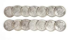 Group of 14 US Morgan Silver Dollars