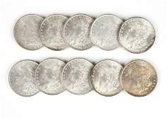 Group of 10 1885 US Morgan Silver Dollars