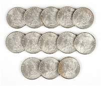 Group of 13 1885 US Morgan Silver Dollars