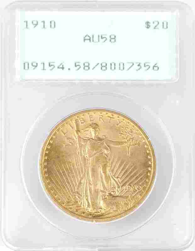 A 1910 $20 US St. Gaudens Gold Coin