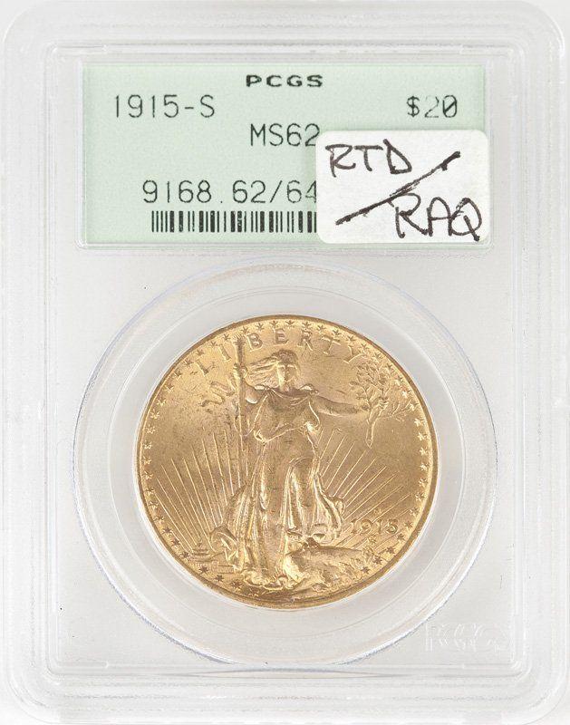 A 1915 S $20 US St. Gaudens Gold Coin