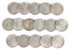Group of 16 US Morgan Silver Dollars