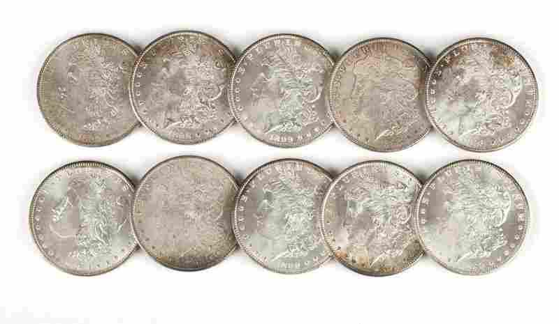 Group of 10 US Morgan Silver Dollars
