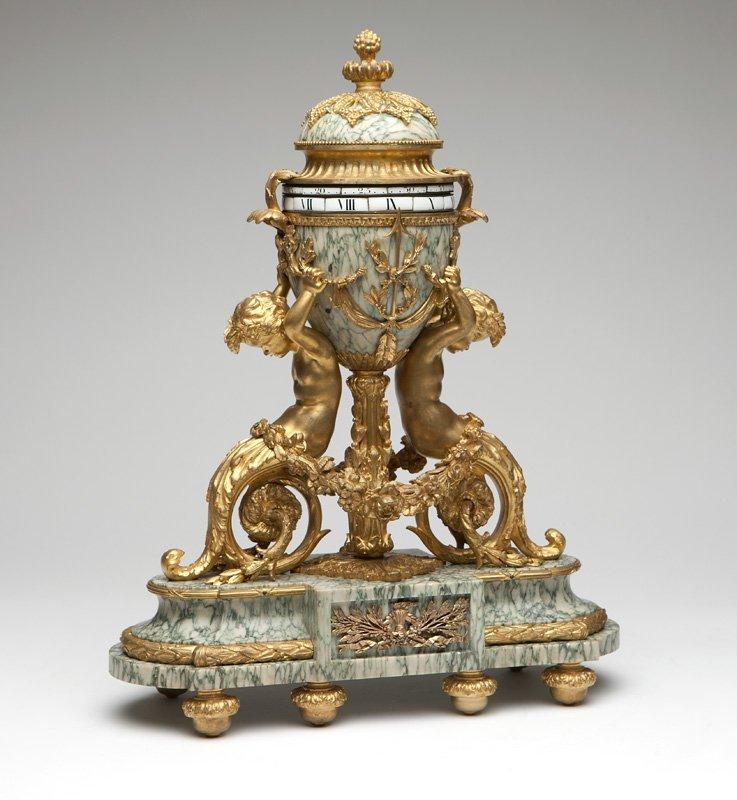 Swiss gilt bronze & marble annular clock, Gubelin