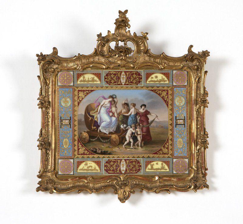 A framed German porcelain plaque