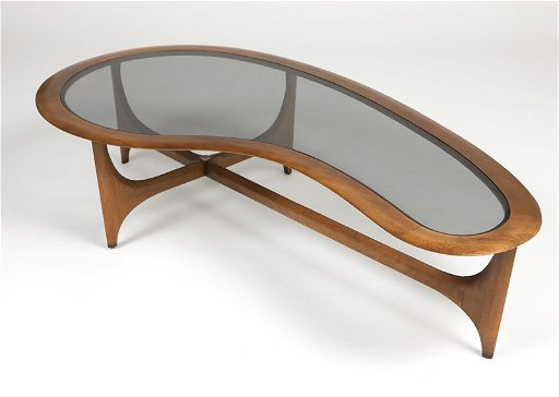 A Lane Furniture Co Kidney Shaped Coffee Table